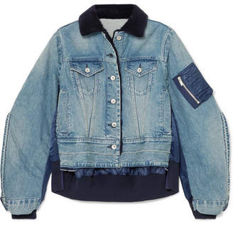 Sacai Denim And Shell Bomber Jacket - Mid denim