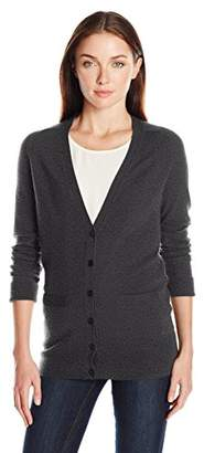 Lark & Ro Women's 100% Cashmere Soft Boyfriend Cardigan Sweater