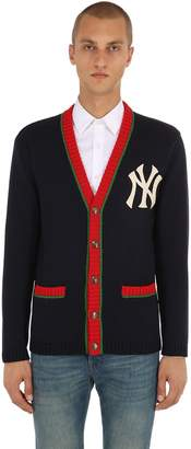 Gucci Ny Embroidered Wool Knit Cardigan