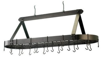 Old Dutch Oiled Bronze Oval Hanging Pot Rack with Grid & 24 Hooks