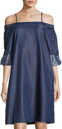 Nanette Lepore Nanette Off-the-Shoulder Chambray Shift Dress, Indigo