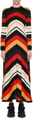 MSGM Striped Long-Sleeve Crewneck Maxi Dress