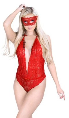 Aerusi AERUSI Women's Adult Lingerie Night Wear Lace Halter Top Teddy Bodysuit with Face Mask