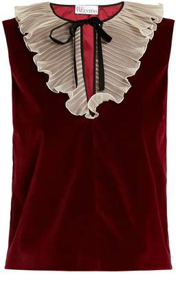 REDVALENTINO Tie-neck ruffled velvet top $338 thestylecure.com