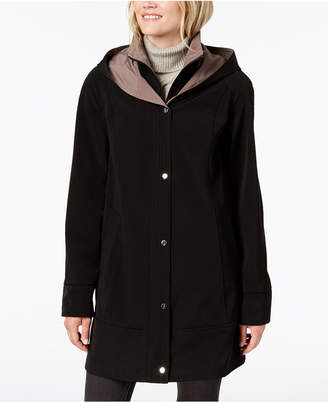 Jones New York Snap Front Colorblock Hooded Raincoat