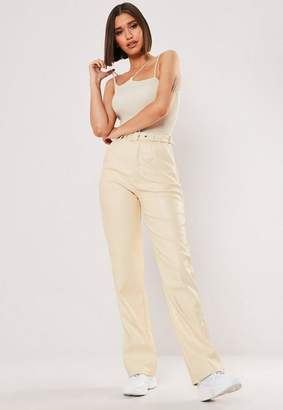 Missguided Stone Faux Leather Wide Leg Pants