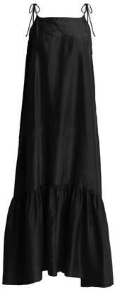 Loup Charmant - Kalahari Tie Shoulder Sandwashed Silk Dress - Womens - Dark Blue