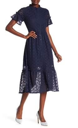 NSR Heidi Crochet Lace Flounce Hem Dress