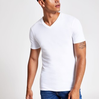 River Island Mens White muscle fit V neck T-shirt
