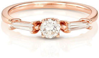 S/H Koh 14k Gold & Round Diamond Yours Only Triple Stone Ring