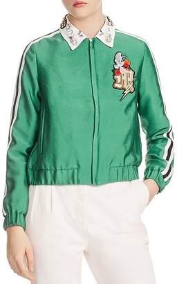 Maje Block Cropped Block Embellished-Collar Jacket