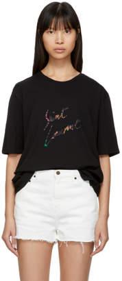 Saint Laurent Black Animalier Logo T-Shirt