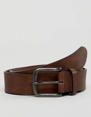 New Look Faux Leather Belt In Mid Brown