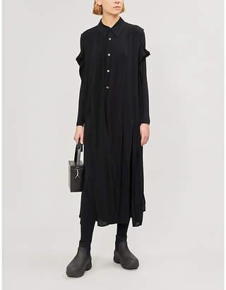 Limi Feu Cold-shoulder woven midi dress