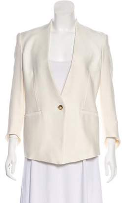 Helmut Lang Single-Breasted Leather-Accented Blazer