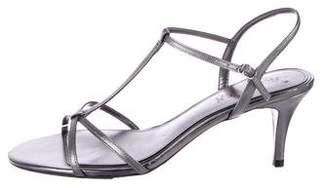 Lauren Ralph Lauren Metallic T-Strap Sandals