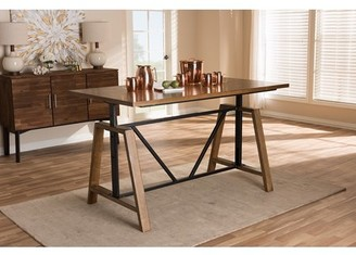 Baxton Studio Nico Rustic Industrial Metal and Distressed Wood Adjustable Height Work Table