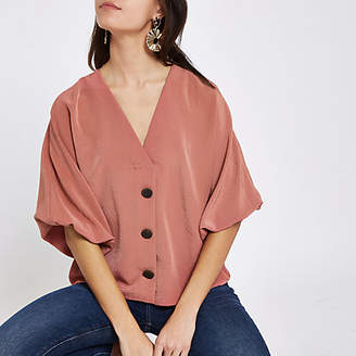 River Island Pink button up V neck top