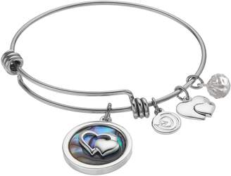 """Love This Life love this life """"Friends Forever"""" Abalone Heart Charm Bangle Bracelet"""