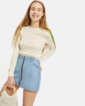 PETITE Zip Through Denim Skirt