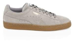 Puma Men's Suede Striped Sneakers - Elephant Grey - Size 8