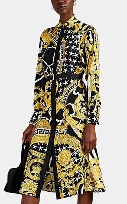 Versace Women's Savage Baroque Silk Shirtdress - Black