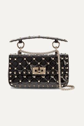 fdda56f824 Valentino Garavani The Rockstud Spike Small Quilted Patent-leather Shoulder  Bag - Black