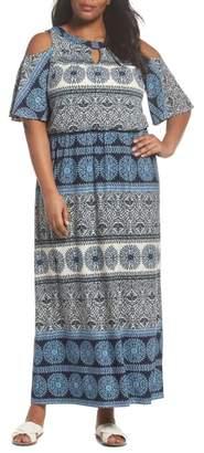 London Times Print Cold Shoulder Blouson Maxi Dress