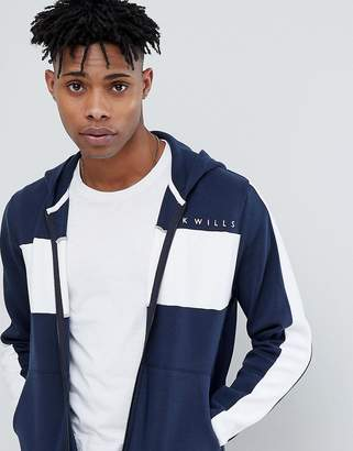 Jack Wills Woodlawn Block Zip-Thru Hoodie In Navy Suit 2