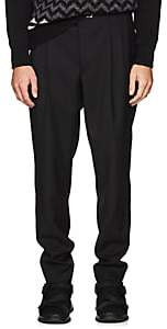 Prada Men's Belted Wool-Mohair Pleated Trousers - Black