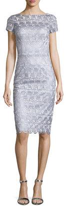 David Meister Short-Sleeve Lace Sheath Cocktail Dress $550 thestylecure.com