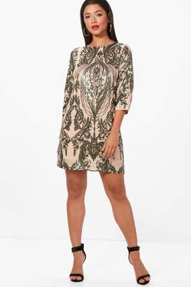 boohoo Boutique Sequin Print 3⁄4 Sleeve Shift Dress