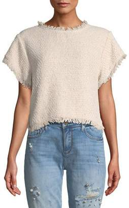 Cupcakes And Cashmere Justeen Cropped Tweed Top