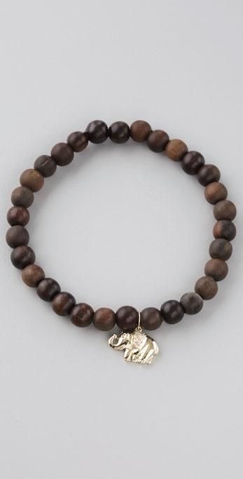 Sydney Evan Elephant Wood Beaded Bracelet