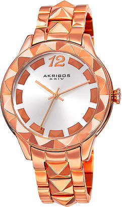 Akribos XXIV Ornate Womens Rose-Tone Bracelet Watch