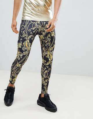 Jaded London Meggings In Baroque Chain Print