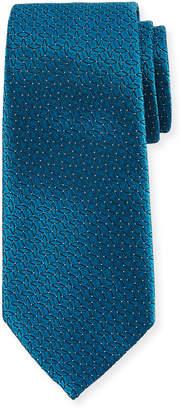 Ermenegildo Zegna Connected Diamond Silk Tie, Blue