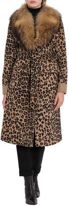 P.A.R.O.S.H. Leopard Print Coat With Fur Neck