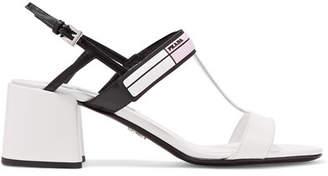 Prada Logo-print Glossed-leather Slingback Sandals - White