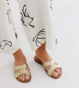 f4fa81f04230e New Look Wide Fit wide fit real leather metallic twist detail sandal