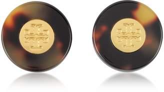 Tory Burch Tortoise Stud Earrings w/Goldtone Logo