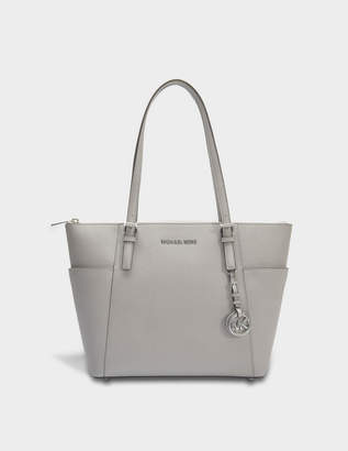 MICHAEL Michael Kors Jet Set Item EW Top Zipped Tote Bag in Pearl Grey Saffia Leather