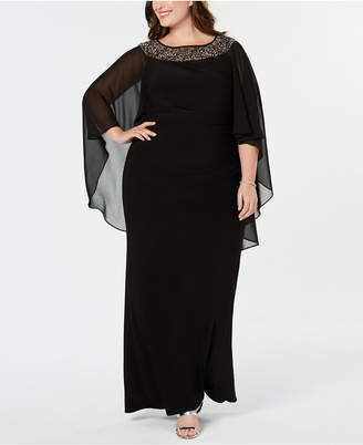 Xscape Evenings Plus Size Chiffon-Cape Embellished Gown