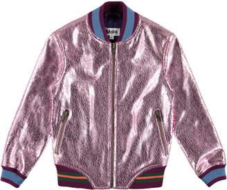 Molo Hollis Metallic Cracked Leather Bomber Jacket, Size 4-14