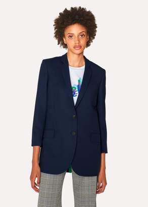 Paul Smith Women's Boyfriend-Fit Navy Wool-Hopsack Blazer
