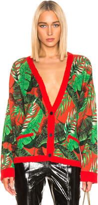 RtA Ella Cardigan in Red Tropical Knit | FWRD