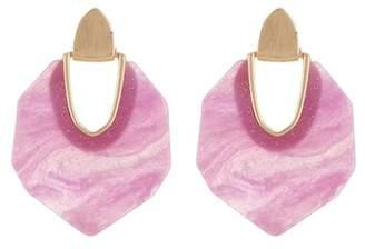 Natasha Accessories Geometric Glitter Front Hoop Earrings