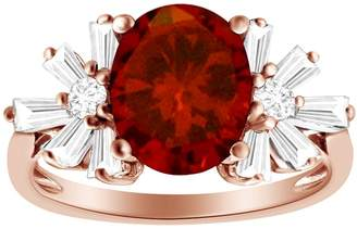 AFFY Oval Shape Simulated Red Garnet With White CZ Starburst Engagement Ring In 14K Rose Gold Over Sterling Silver,Ring Size-8