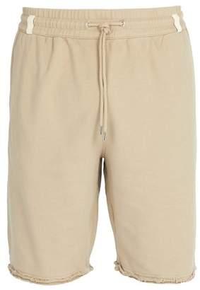 Helmut Lang Distressed Hem Cotton Shorts - Mens - Grey
