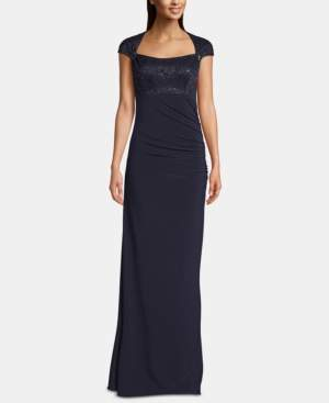 Betsy & Adam B & A by Embellished-Top Cap-Sleeve Gown